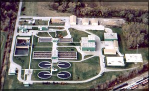 Aerial view of the West Bay County Regional Wastewater Treatment Plant
